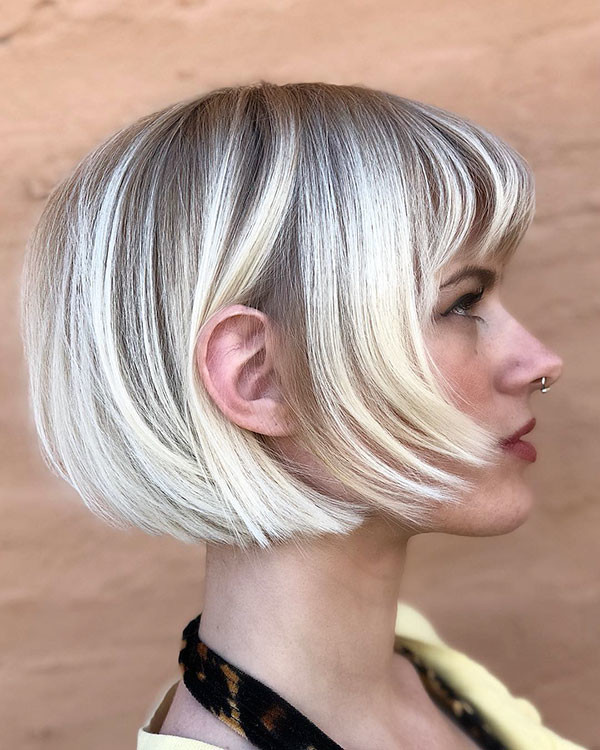 French-Bob Short Hairstyles with Bangs 2019