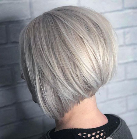 Grey-Bob-Cut Short Inverted Bob Hairstyles