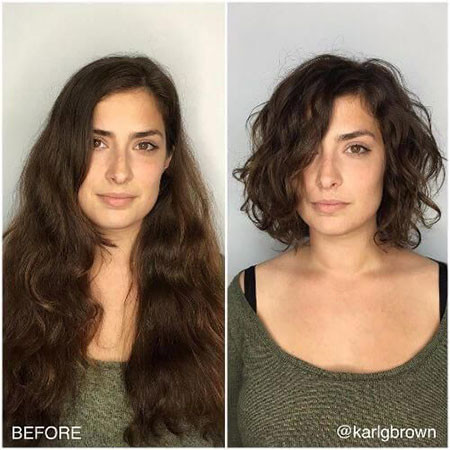 Lob-with-Curly-Hair Popular Short Curly Hairstyles 2018 – 2019