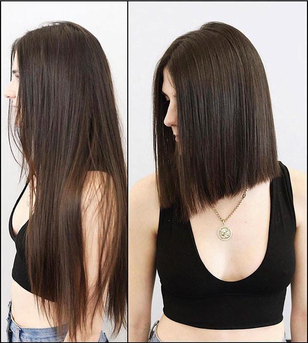 Medium-Length-Straight-Haircuts Short Straight Hairstyles 2019