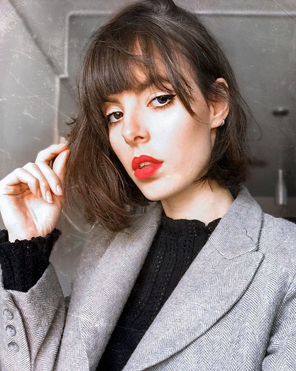 Messy-Bob Short Hairstyles with Bangs 2019