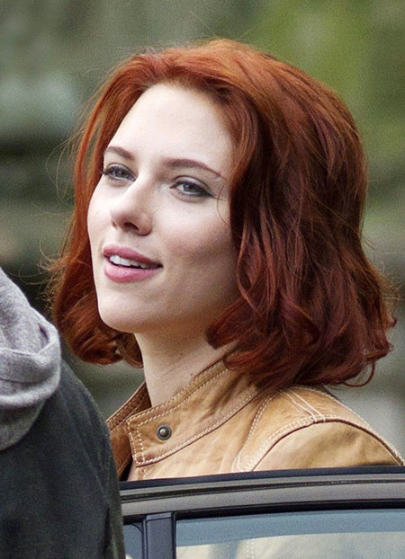 Messy-Red-Hair Scarlett Johansson Short Hairstyles
