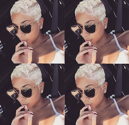 Platinum-Short-Hair-On-Black-Girls Best Short Pixie Hairstyles for Black Women 2018 – 2019