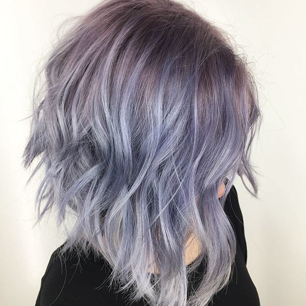 Purple-Inverted-Bob-Haircut Popular Short Wavy Hairstyles 2019