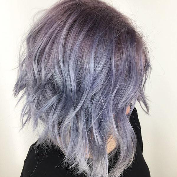 Purple-Inverted-Bob-Haircut Popular Short Wavy Hairstyles 2019