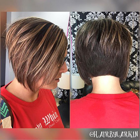 Short-Angled-Bob-with-Highlights Short Bob Haircuts 2019