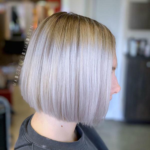 Short-Blonde-Straight-Haircut Short Straight Hairstyles 2019