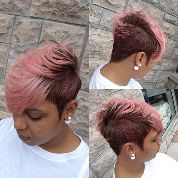 Short-Pink-Hair Short Haircuts for Black Women 2019