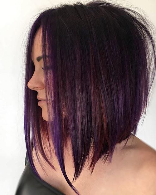 Short-Purple-Hair Popular Short Haircuts 2018 – 2019