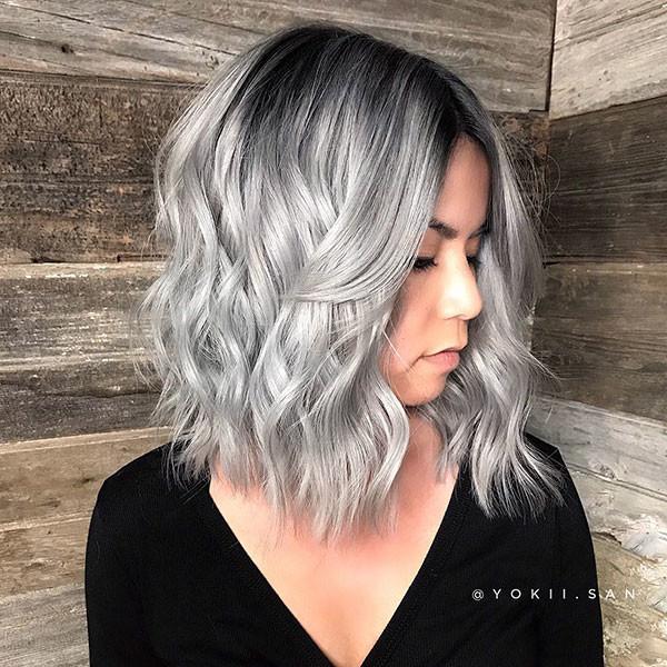 Short-Silver-Hair Popular Short Wavy Hairstyles 2019