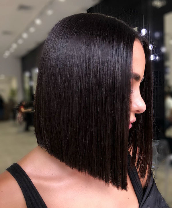 Short-Straight-Bob-Black-Hair Short Straight Hairstyles 2019