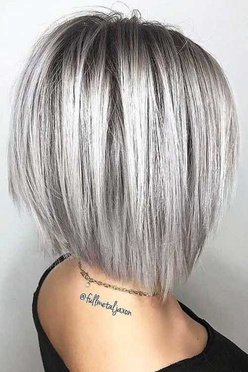 Silver-Shoulder-Length-Hair Outstanding Short Haircuts for Women