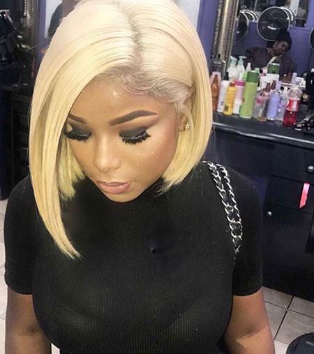 Sleek-Blonde-Hair Best Short Hairstyles for Black Women 2018 – 2019