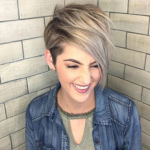 19-short-hair-long-side-bangs Best New Short Hair with Side Swept Bangs