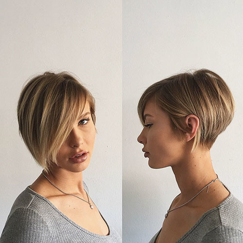 32-short-hair-long-side-bangs Best New Short Hair with Side Swept Bangs