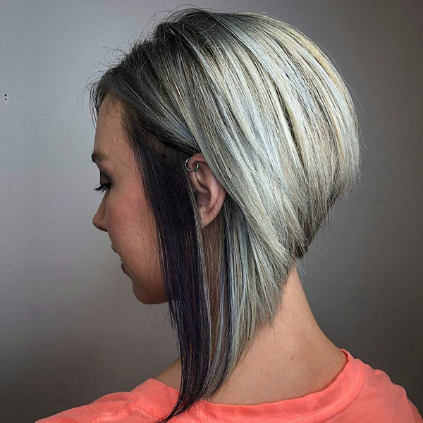 Angled-Graduated-Bob-Hair-with-Two-Colors Popular Bob Hairstyles 2019