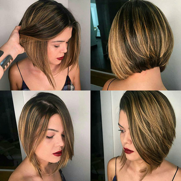 Blonde-Balayage-On-Brunette-Hair Popular Bob Hairstyles 2019