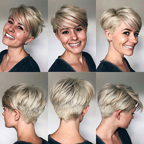 Blonde-Pixie-Cut-1 Best New Short Hair with Side Swept Bangs