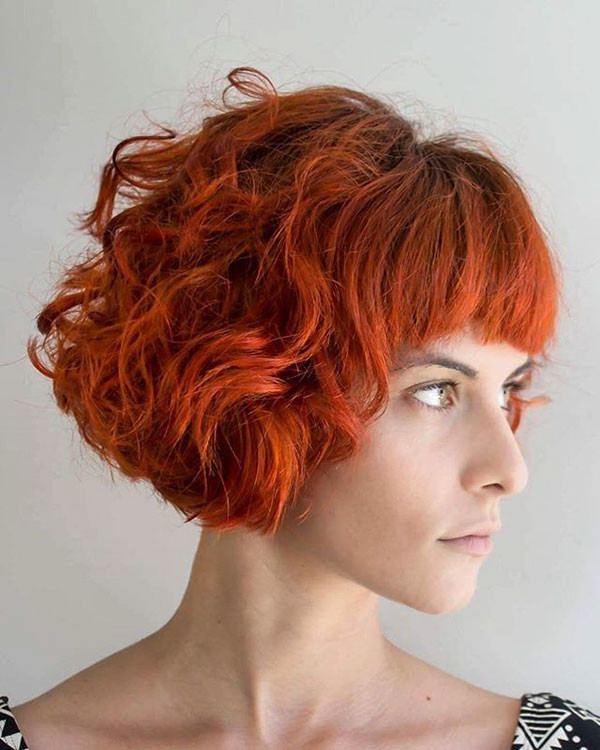 Curly-Red-Bob-with-Bangs Best Short Curly Hair Ideas in 2019