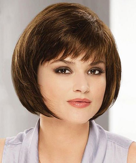 Cute-Bangs Short Haircuts for Women with Round Faces