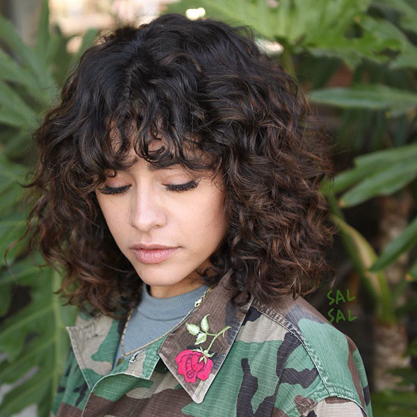 Cute-Curly-Bangs Best Short Curly Hair Ideas in 2019