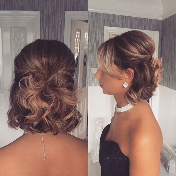 Cute-Half-Updo Wedding Hairstyles for Short Hair 2019