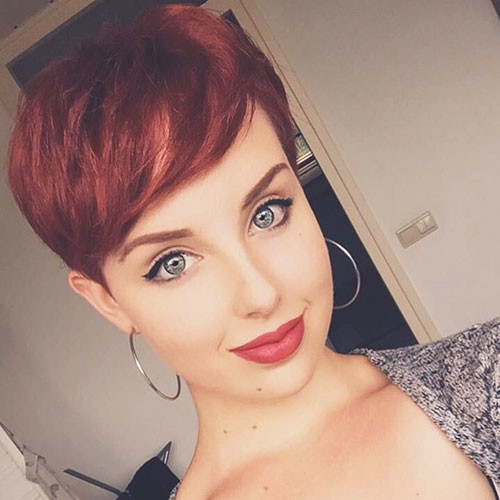 Cute-Red-Pixie-Hair Best New Short Hair with Side Swept Bangs