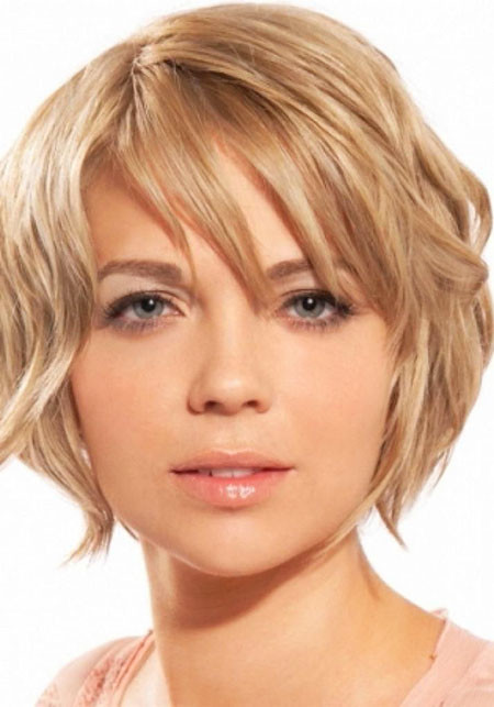 Hair-with-Bangs Short Haircuts for Women with Round Faces