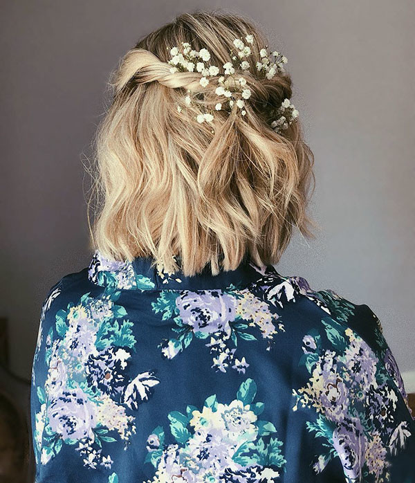 Half-Updo-with-Head-Pieces Wedding Hairstyles for Short Hair 2019