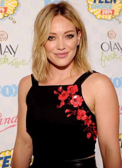 Hillary-Duff-Short-Haircut-for-Fine-Thin-Messy-Hair Short Straight Hairstyles for Fine Hair