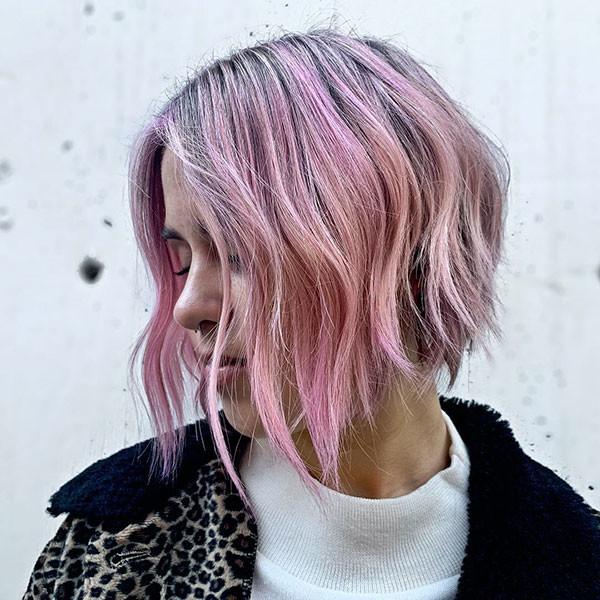Pink-Blonde-A-Line-Bob Beautiful Short Hair for Girls