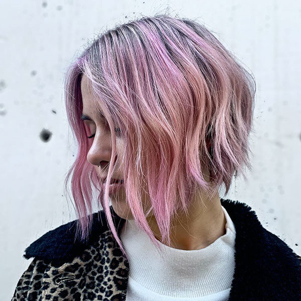 Pink-Blonde-A-Line-Bob Beautiful Short Hair for Girls