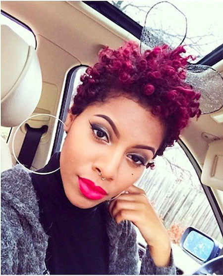 Plum-Hair-Color Short Natural Hairstyles with Color