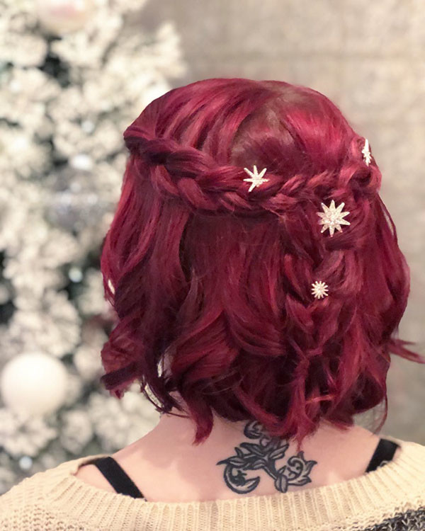 Red-Bob-with-Braids Amazing Braids for Short Hair