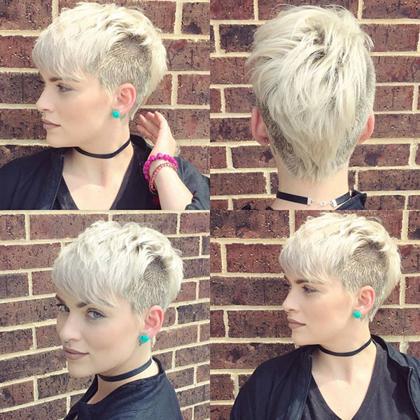 Shaved-Side-Long-Bangs Beautiful Short Hair for Girls