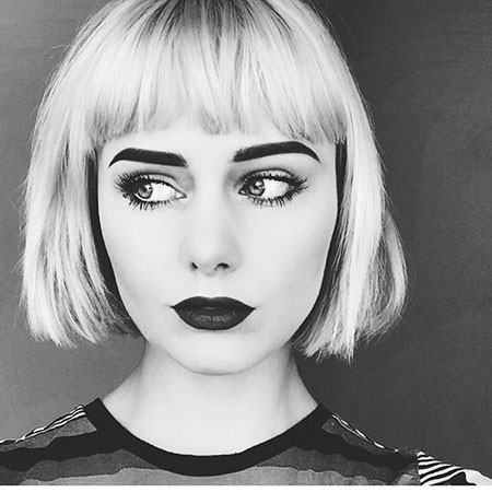 Short-Blunt-Cut-Bob-with-Bangs Short Bob Haircuts for Women