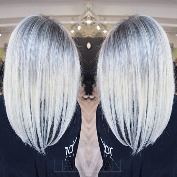 Silver-Hair-Color Popular Short Hairstyles for Fine Hair