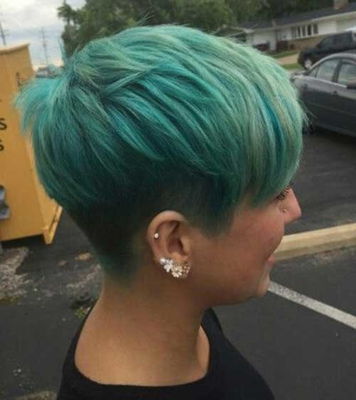 Turquoise-Green-Colored-Pixie Brilliant Short Straight Hairstyles