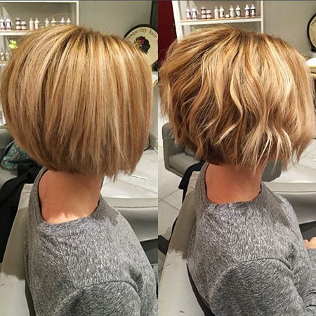 Wavy-Angled-Bob Short Bob Haircuts for Women