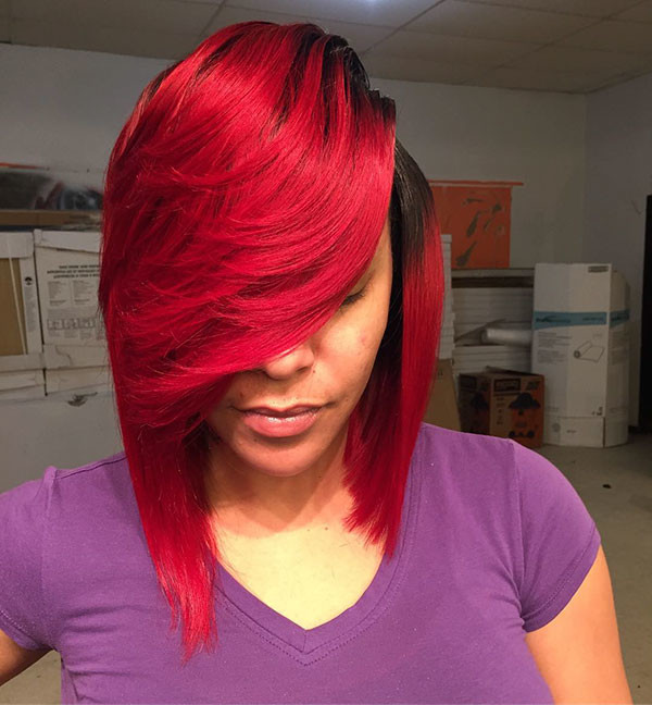 Weave-Red-Bob Best Bob Hairstyles for Black Women Pictures in 2019