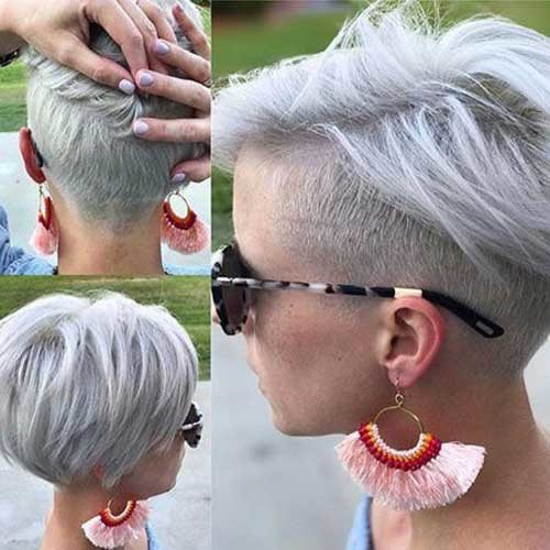 White-Blonde-Hair Pixie Bob Haircuts for Neat Look