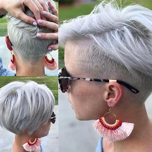 White-Blonde-Hair Pixie Bob Haircuts for Neat Look