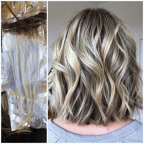 Blonde-Wavy-Bob-Hairstye Famous Blonde Bob Hair Ideas in 2019