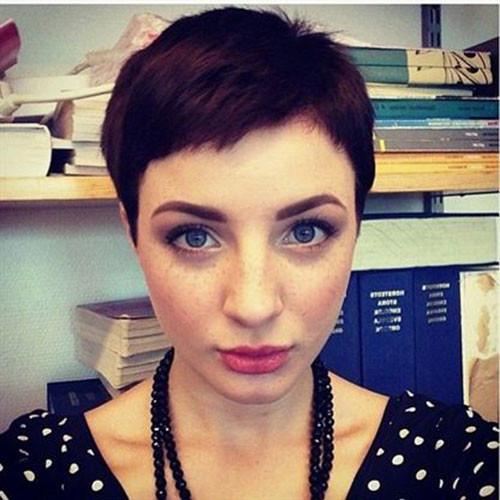Brunette-Pixie Latest Short Haircuts for Women 2019