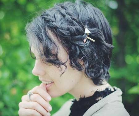 Curly-Double-Side-Braids-Short-Hairstyle Short Braided Hairstyle