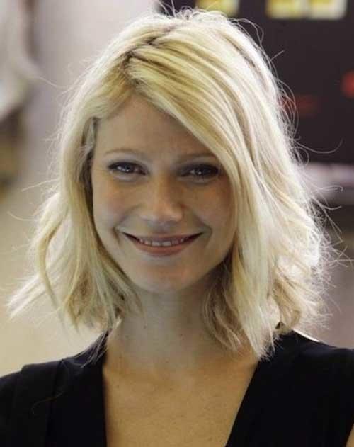 Cute-Blonde-Short-Medium-Wavy-Bob-Hair Cute Medium Short Haircuts