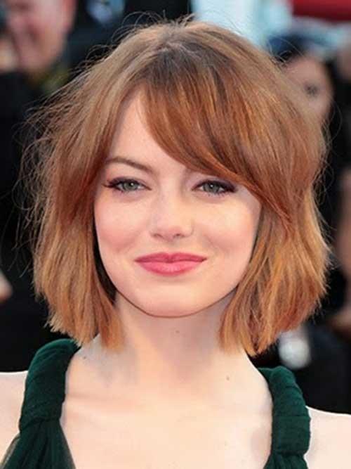 Emma-Stone's-Bob-Hair-and-Side-Bangs Short Bob Haircut with Bangs