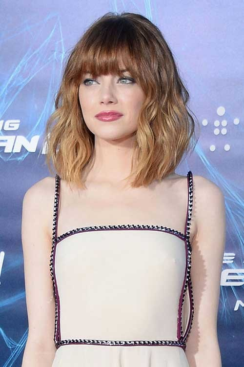 Emma-Stone-Long-Bob-Hair-with-Ombre-Color Beautiful Ombre Bob Hairstyles
