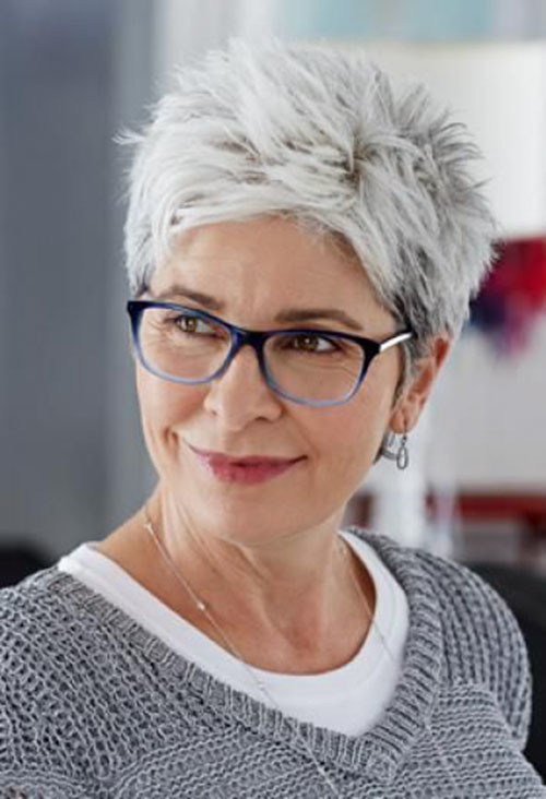Gray-Hair Beautiful Pixie Cuts for Older Women 2019
