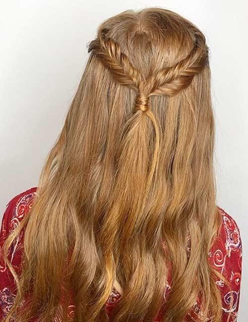 Half-Fishtail-Crown-Braid Beautiful Crown Braid Hairstyles